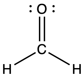 Lewis structure for the molecule formaldehyde. A central carbon is double bonded to one oxygen atom and singly bonded to two hydrogen atoms.