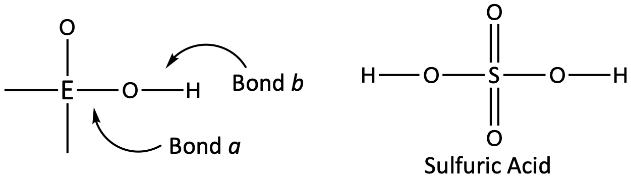 This figure contains two structures. The left structure has a central atom labeled E with a single bond to the left to nothing, a single bond down to nothing, a single bond up to oxygen, and a single bond to the right to oxygen, which has a single bond to hydrogen. The single bond between E and O is labeled Bond a and the single bond between oxygen and hydrogen is labeled Bond b. The second structure to the right is labeled Sulfuric Acid. There is a central Sulfur atom with single bonds to oxygen to the left and right and a double bond to oxygen to the top and bottom. The oxygens to the left and right are also single bonded to one hydrogen each.