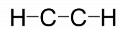Rough Lewis structure for C subscript 2 H subscript 2. There is an H atom on the left that is singly bonded to a carbon atom. The carbon atom is then singly bonded to another carbon atom. That carbon atom is singly bonded to hydrogen atom.