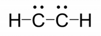 Rough Lewis structure for C subscript 2 H subscript 2. There is a H atom at the left that is singly bonded to a carbon atom. The carbon atom has 1 lone pair and is singly bonded to another carbon atom. That carbon atom has a single lone pair and is singly bonded to a hydrogen atom.