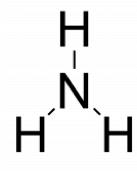 Rough Lewis structure of ammonia. A central nitrogen atom is singly bonded to 3 hydrogen atoms, arranged in a trigonal planar arrangement.