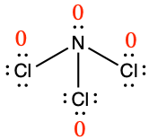 Lewis structure for NCl3. Central nitrogen atom is single bonded to three chlorine atoms. Each chlorine atom has three lone pairs, and the nitrogen has one lone pair. The formal charge for each atom is zero.