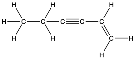 A Lewis structure is shown. A carbon atom that is single bonded to three hydrogen atoms is bonded to a second carbon atom. The second carbon atom is single bonded to two hydrogen atoms. The second carbon atom is single bonded to a third carbon atom that is triple bonded to a fourth carbon atom and single bonded to a fifth carbon atom. The fifth carbon atom is single bonded to a hydrogen atom and double bonded to a sixth carbon atom that is single bonded to two hydrogen atoms.