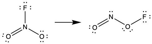 Two Lewis structures are shown with a right-facing arrow in between. The left structure shows a nitrogen atom double bonded to an oxygen atom with two lone pairs of electrons. It is also bonded to a fluorine atom and another oxygen atom, each with three lone pairs of electrons. The right structure shows an oxygen atom with two lone pairs of electrons double bonded to a nitrogen atom with one lone pair of electrons. This nitrogen atom is single bonded to an oxygen with two lone pairs of electrons. The oxygen atom is single bonded to a fluorine atom with three lone pairs of electrons.
