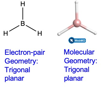 """Two representations of B H subscript 3 are shown. In the Lewis structure on the left, the boron atom is in the middle. There are three hydrogen atoms arranged around the boron atom in a trigonal planar geometry. There are single bonds between the B and H atoms. The label beneath the structure reads """"electron-pair geometry: trigonal planar"""". The structure on the right is a ball and stick model that is a screenshot of the geometry as seen on Web M O. There is a light pink sphere in the middle for the boron atom. Then there are white spheres arranged in a trigonal planar geometry for the hydrogen atoms. The label beneath the structure reads """"molecular geometry: trigonal planar""""."""