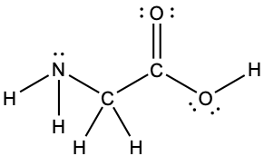 A Lewis structure depicts a nitrogen atom with one lone pair of electrons that is single bonded to two hydrogen atoms and a carbon atom, which is, in turn, single bonded to two hydrogen atoms and another carbon atom. This carbon atom is double bonded to an oxygen atom with two lone pairs of electrons and single bonded to an oxygen that has two lone pairs of electrons and a single bond to a hydrogen atom.