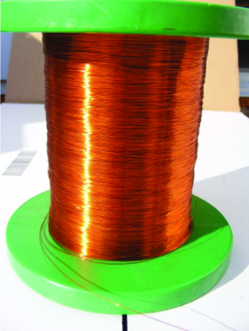 A close-up photo of a spool of copper wire is shown.