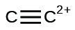 A Lewis structure shows two carbon atoms joined with a triple bond. A superscripted 2 positive sign lies to the right of the second carbon.