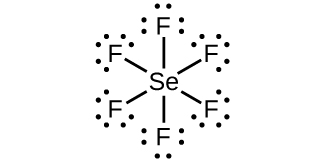 A Lewis structure shows a selenium atom single bonded to six fluorine atoms, each with three lone pairs of electrons.