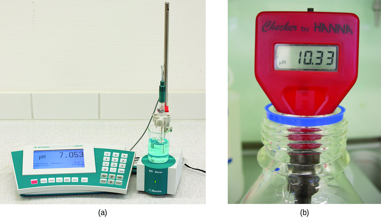 This figure contains two images. The first, image a, is of an analytical digital p H meter on a laboratory counter. The second, image b, is of a portable hand held digital p H meter.