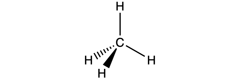 A Lewis structure of CH4, or methane, is shown. Four hydrogen atoms are all single bonded to a central carbon atom to form a tetrahedral structure.