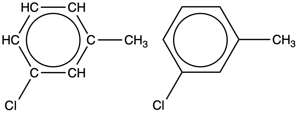 Two structural formulas are shown. The first has a six carbon hydrocarbon ring in which four of the carbon atoms are each bonded to only one H atom. At the upper right of the ring, the carbon that does not have a bonded H atom has a C H subscript 3 group attached. The C to the lower right has a C l atom attached. A circle is at the center of the ring. The second molecule has a hexagon with a circle inside. From a vertex of the hexagon at the upper right a C H subscript 3 group is attached. From the vertex at the lower right, a C l atom is attached.