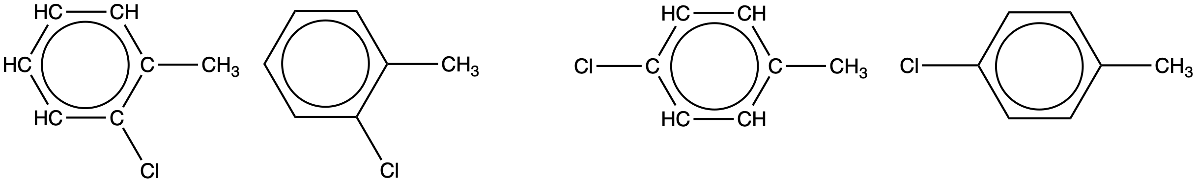 Two pairs of structural formulas are shown. The first has a six carbon hydrocarbon ring in which four of the C atoms are each bonded to only one H atom. At the upper right of the ring, the C atom that does not have a bonded H atom has a C H subscript 3 group attached. The C atom to the right has a C l atom attached. A circle is at the center of the ring. The second molecule in the first pair has a hexagon with a circle inside. From a vertex of the hexagon at the upper right a C H subscript 3 group is attached. From the vertex at the right, a C l atom is attached. The second pair first shows a six carbon hydrocarbon ring in which four of the C atoms are each bonded to only one H atom. A C l atom is attached to the left-most C atom and a C H subscript 3 group is attached to the right-most C atom. A circle is at the center of the ring. The second molecule in the pair has a hexagon with a circle inside. A C H subscript 3 group is attached to a vertex on the right side of the hexagon and to a vertex on the left side, a C l atom is bonded.