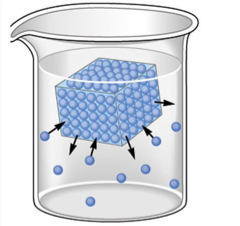 A beaker is full of a colorless, clear liquid. Inside the beaker is a blue cube filled with small blue spheres to represent water molecules. 9 of these spheres are detached and in the clear liquid. There are 6 arrows, 3 showing that the blue spheres are leaving and 3 showing that the detached blue spheres are going to reattach.