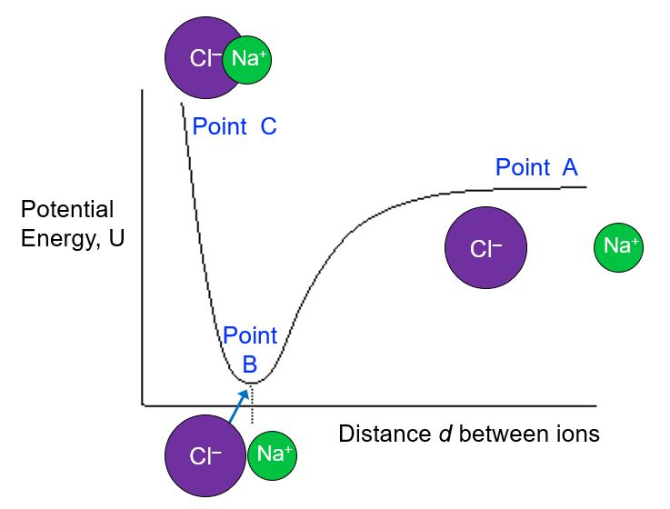 """This is a plot of potential energy on the y-axis vs distance between ions on the x-axis. At the right side of the plot (when distance is large), Point A is labeled and shows that the ions Na+ and Cl- are far away from each other. At Point A, the potential energy is high. As the ions are brought closer together and we move from right to left on the x-axis, the potential energy drops to a point labeled """"Point B"""", which is at a minimum of potential energy. Here the ions are right next to each other. If we continue to move the ions closer together so that their electron clouds overlap, we see a steep increase in potential energy until we get to a point labeled """"Point C"""" that is at the highest potential energy at the shortest distance between the ions."""