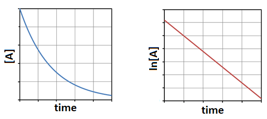 """A graph is shown with the label """"Time"""" on the x-axis and """"[A]"""" on the y-axis. It has a curved line A second graph is shown with the label """"Time"""" on the x-axis and """"ln[A]"""" on the y-axis. This graph has a negatively sloped linear line with a non-zero y-intercept."""