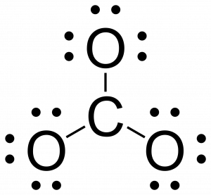 Rough Lewis structure for CO3. Carbon is in the center and is singly bonded to three oxygens. The oxygens have an octet but carbon does not.