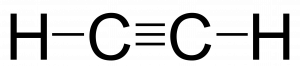Final Lewis structure for HCCH. The two central carbons are bonded to each other with a triple bond. Each carbon is also bonded to one hydrogen atom.