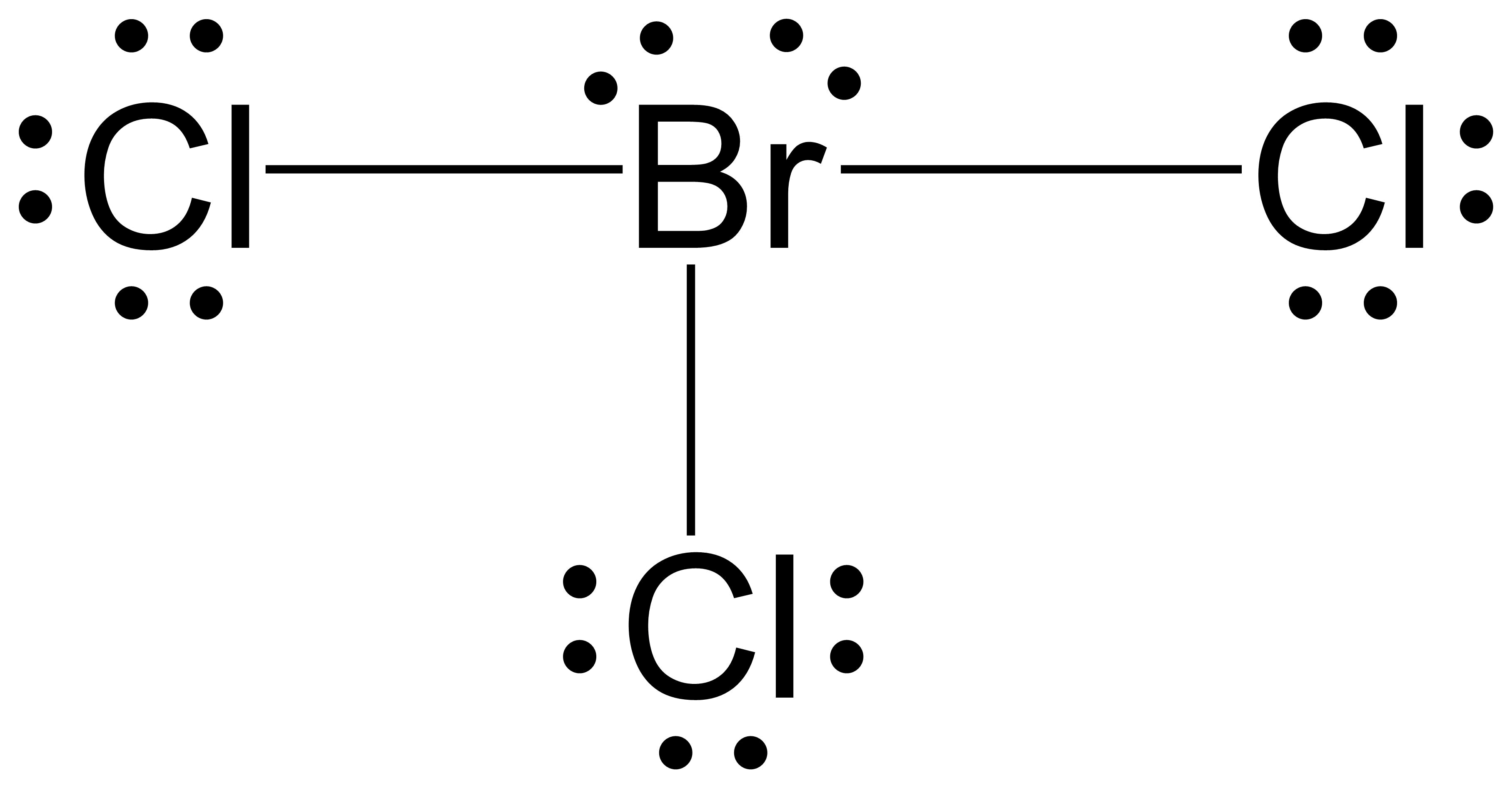Lewis structure for BrCl3 with the central bromine atom single bonded to three chlorine atoms. The central bromine has two lone pairs, and the chlorine atoms have three.