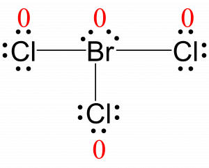 Lewis structure for BrCl3 with the formal charge of each atom written next to them in red. The formal charge of every atom is zero.