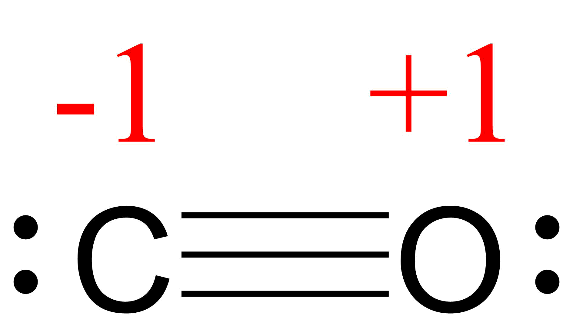 Lewis structure for CO. Carbon is triple bonded to the oxygen atom. Each atom has a lone pair. This gives the carbon atom a formal charge of minus 1, and the oxygen a formal charge of plus 1.