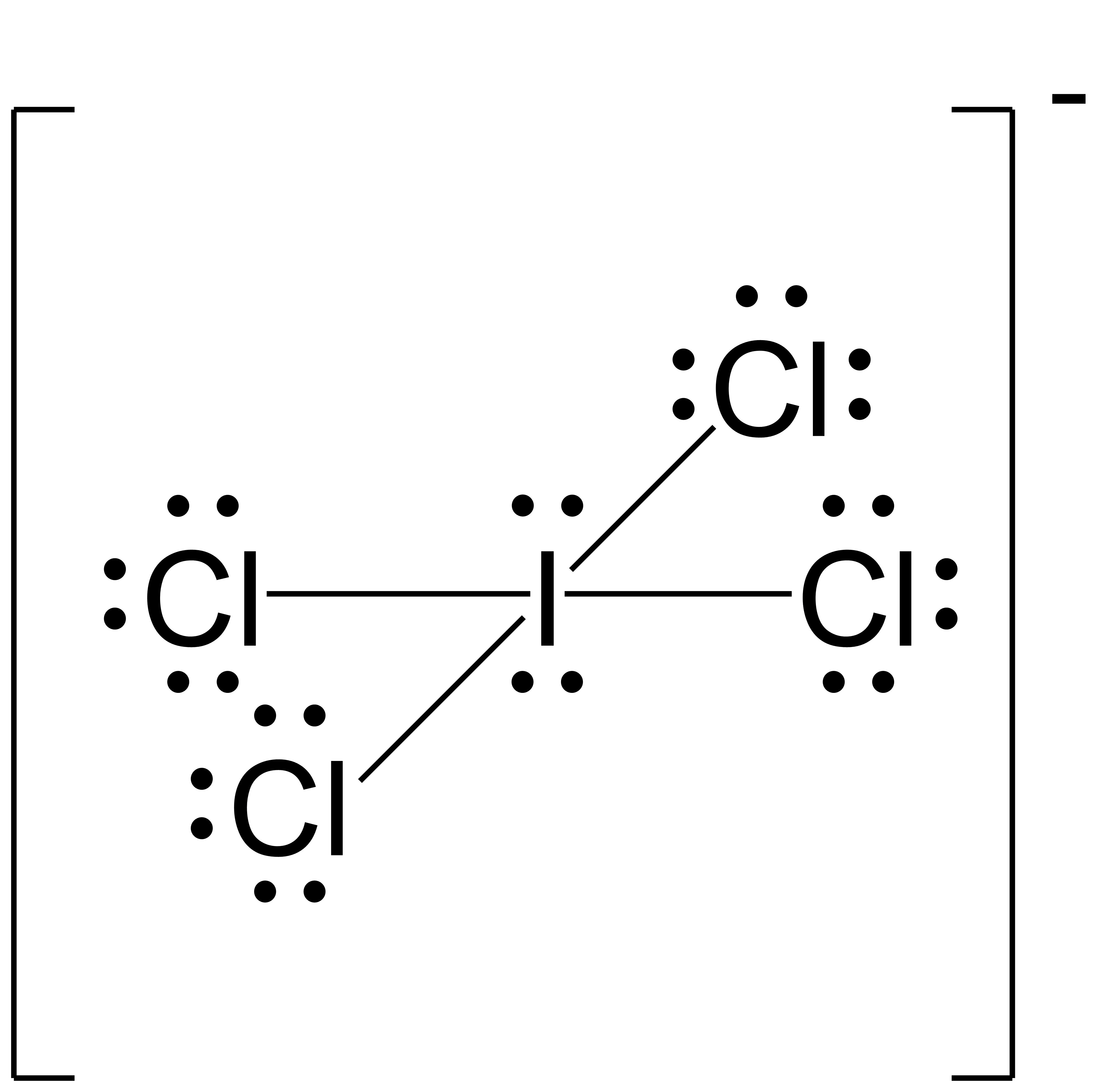 Resonance Structure for ICl4. The central iodine atom is singly bonded to four chlorine atoms. The central iodine atom also has two lone pairs.