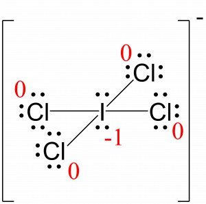 Lewis structure for ICl4 with formal charges written next to each atom in red. The only non-zero formal charge is minus 1 written next to the central iodine.