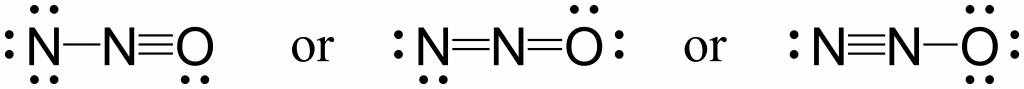 Three possible resonance structures for N2O. On the left a central nitrogen is triple bonded to the oxygen on the right, and single bonded to the nitrogen on the left. In the central resonance structure the central nitrogen is double bonded both to the nitrogen on the left and the oxygen on the right. In the right resonance structure the central nitrogen is triple bonded to the nitrogen on the left, and single bonded to the oxygen on the right.
