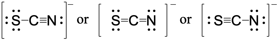 Three resonance structure for SCN- written left to right. In the leftmost resonance structure carbon is in the center and singly bonded to the sulfur atom and triple bonded to the nitrogen atom. In the central resonance structure the carbon is double bonded to the sulfur atom and double bonded to the nitrogen atom. In the rightmost structure the central carbon is triple bonded to the sulfur and singly bonded to the nitrogen atom.