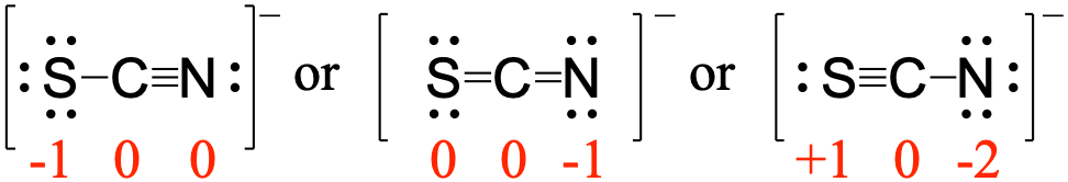 Three separate resonance structures for S C N are displayed left to right. The left structure has the central carbon single bonded to a sulfur on the left (which has 3 lone pairs) and triple bonded to a nitrogen on the right (which has 1 lone pair). There are brackets around the structure and a superscript negative. The formal charges are -1 for S, 0 for C and 0 for N. The central resonance structure has the central carbon double bonded to sulfur on the left (which has 2 lone pairs) and double bonded to nitrogen on the right (which has 2 lone pairs). There are brackets around the structure and a superscript negative. The formal charges are 0 for S, 0 for C and -1 for N. The right resonance structure has the central carbon triple bonded to sulfur on the left (which has 1 lone pairs) and single bonded to nitrogen on the right (which has 3 lone pairs). There are brackets around the structure and a superscript negative. The formal charges are +1 for S, 0 for C and -2 for N.