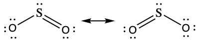 A diagram is shown that is made up of two Lewis structures connected by a double ended arrow. Each structure has a sulfur in the middle with an oxygen atom on either side. In the left structure, there is a single bond between the sulfur and the left oxygen, and a double bond between the sulfur and the right oxygen. In the structure to the right of the arrow, there is a double bond between the sulfur and the left oxygen and a single bond between the sulfur and the right oxygen. Lone pairs are shown so that each atom has an octet.