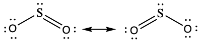 Two Lewis structures are shown with a double-headed arrow in between. The left structure shows a sulfur atom with a lone pair of electrons single bonded to the left to an oxygen atom with three lone pairs of electrons. The sulfur atom is also double bonded on the right to an oxygen atom with two lone pairs of electrons. The right structure depicts the same atoms, but this time the double bond is between the left oxygen and the sulfur atom. The lone pairs of electrons have also shifted to account for the change of bond types. The sulfur atom in the right structures, also has a third electron dot below it.