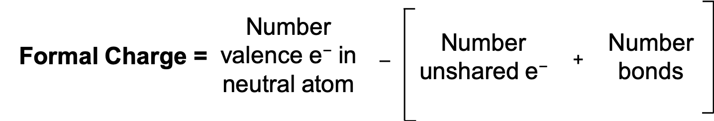 An equation is shown. The formal charge is equal to the number of valence electrons on the neutral atom minus the open parenthesis number of unshared electrons plus number of bonds close parenthesis.