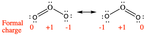 """Two Lewis structures are shown with a double-headed arrow in between. The left structure shows an oxygen atom with one lone pair of electrons single bonded to an oxygen atom with three lone pairs of electrons. It is also double bonded to an oxygen atom with two lone pairs of electrons. The symbols and numbers below this structure read, """"( 0 ), ( positive 1 ), ( negative 1 )."""" The phrase, """"Formal charge,"""" and a right-facing arrow lie to the left of this structure. The right structure appears as a mirror image of the left and the symbols and numbers below this structure read, """"( negative 1 ), ( positive 1 ), ( 0 )."""""""