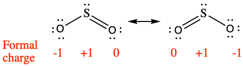 """Two Lewis structures are shown, with a double-headed arrow in between. The left structure shows a sulfur atom with one lone pair of electrons single bonded to an oxygen atom with three lone pairs of electrons. The sulfur atom also double bonded to an oxygen atom with two lone pairs of electrons. The symbols and numbers below this structure read, """"( negative 1 ), ( positive 1 ), ( 0 )."""" The right structure appears as a mirror image of the left and the symbols and numbers below this structure read, """"( 0 ), ( positive 1 ), ( negative 1 )."""""""