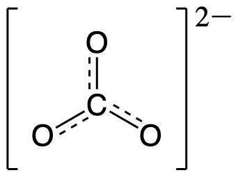 Resonance Hybrid for CO3 2-. The central carbon is singly bonded to each oxygen. Each oxygen also has a dashed line to represent that the bond is between that of a single bond and a double bond.
