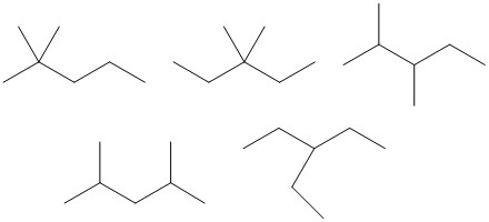 Isomers of heptane with five carbons in the longest chain: 5 bond-line structures; 2,2-dimethylpentane, 3,3-dimethylpentane, 2,3-dimethylpentane, 2,4-dimethylpentane, and 3-ethylpentane