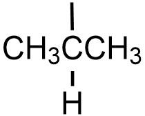 Isopropyl substituent. CH3CHCH3, with a bond line coming from the second (or center) carbon, indicating where it will bond to a carbon chain