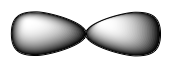 Orbitals of a linear structure is shown. Two triangular lobes, which look like a peanut shaped structure, point opposite from each other, with 180 degrees between the two lobes.