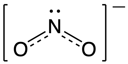 Resonance hybrid for NO2-. Nitrogen is the central atom and is singly bonded to two oxygen atoms. Each oxygen also has a second dashed bond between them and the central nitrogen.
