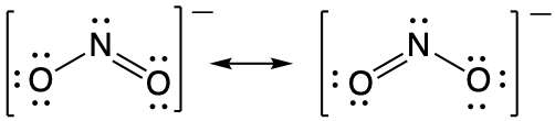 Two resonance structures for NO2- separated by a resonance arrow. In each structure the central nitrogen is singly bonded to one oxygen and double bonded to the second oxygen
