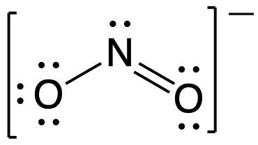 Lewis structure for NO2-. Central nitrogen atom is singly bonded to one oxygen atom and double bonded to a second oxygen atom. Representation is placed in brackets with an overall minus charge.