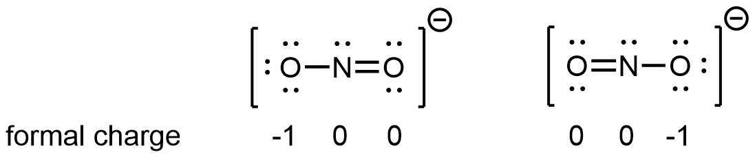 Two Lewis structures are shown. The left structure shows an oxygen atom with three lone pairs of electrons single bonded to a nitrogen atom with one lone pair of electrons that is double bonded to an oxygen with two lone pairs of electrons. Brackets surround this structure, and there is a superscripted negative sign. The right structure shows an oxygen atom with two lone pairs of electrons double bonded to a nitrogen atom with one lone pair of electrons that is single bonded to an oxygen atom with three lone pairs of electrons. Brackets surround this structure, and there is a superscripted negative sign.