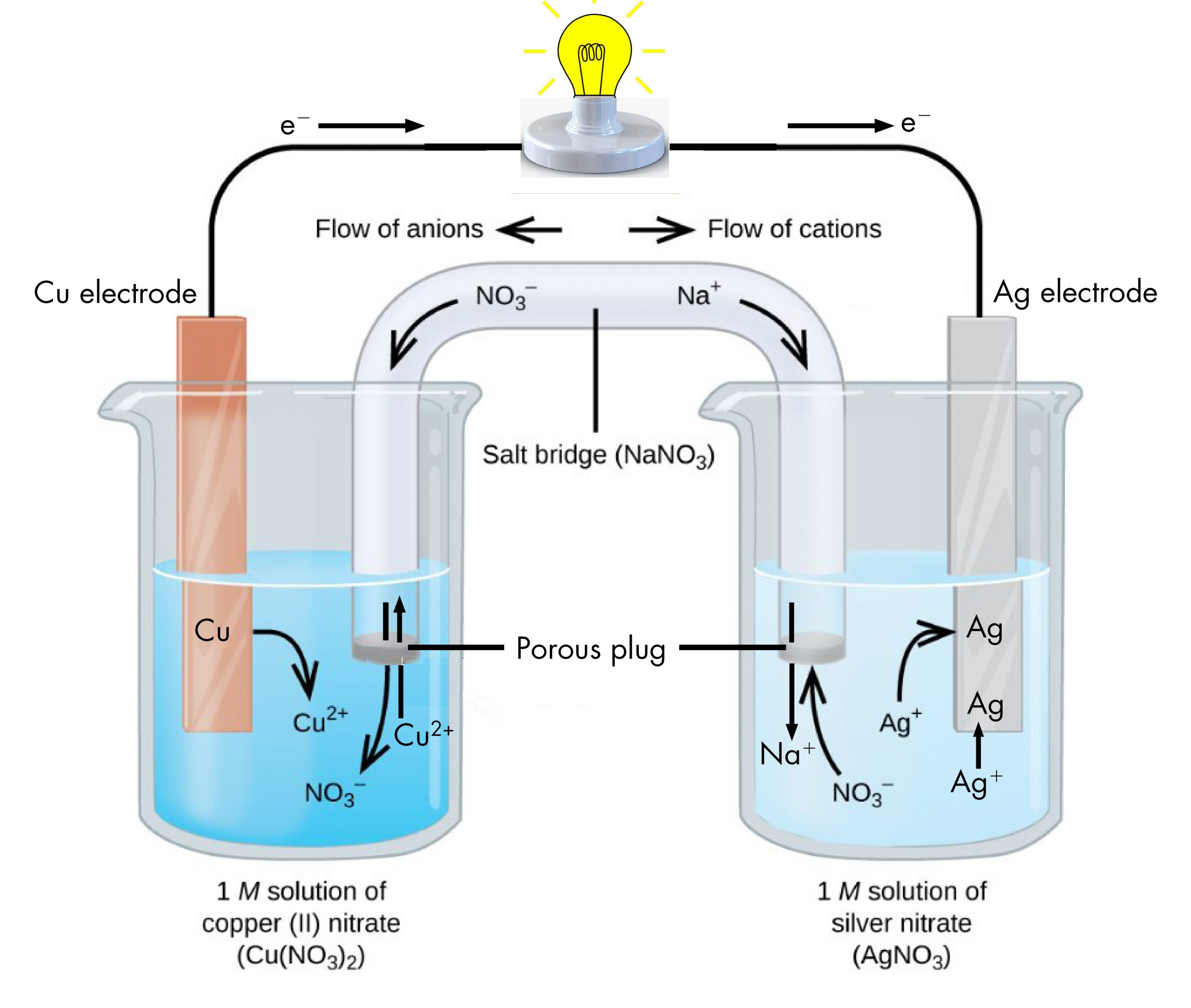 """This figure contains a diagram of an electrochemical cell. Two beakers are shown. Each is just over half full. The beaker on the left contains a blue solution and is labeled below as """"1 M solution of copper (II) nitrate ( C u ( N O subscript 3 ) subscript 2 )."""" The beaker on the right contains a colorless solution and is labeled below as """"1 M solution of silver nitrate ( A g N O subscript 3 )."""" A glass tube in the shape of an inverted U connects the two beakers at the center of the diagram. The tube contents are colorless. The ends of the tubes are beneath the surface of the solutions in the beakers and a small grey plug is present at each end of the tube. The plug in each beaker is labeled """"Porous plug."""" At the center of the diagram, the tube is labeled """"Salt bridge ( N a N O subscript 3 ). Each beaker shows a metal strip partially submerged in the liquid. The beaker on the left has an orange brown strip that is labeled """"C u electrode"""" at the top. The beaker on the right has a silver strip that is labeled """"A g electrode"""" at the top. A wire extends from the top of each of these strips to a socket and lighted light bulb at the center top of the figure. An arrow points toward the light bulb from the left which is labeled """"e superscript minus."""" Similarly, an arrow points away from the voltmeter to the right which is also labeled """"e superscript minus."""" A curved arrow extends from the C u strip into the surrounding solution. The base of this arrow is labeled """"C u"""" and the point of this arrow is labeled """"C u superscript 2 plus."""" A curved arrow extends from the salt bridge into the beaker on the left into the blue solution. The tip of this arrow is labeled """"N O subscript 3 superscript negative."""" An arrow extends from the beaker on the left into the salt bridge and is labeled """"C u superscript 2 superscript plus"""" in the beaker where the arrow begins. Two arrows extend from the solution in the beaker on the right to the A g strip. The base of each arrow is labeled """"A g supers"""