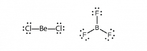 Two Lewis structures are shown. The left shows a beryllium atom single bonded to two chlorine atoms, each with three lone pairs of electrons. The right shows a boron atom single bonded to three fluorine atoms, each with three lone pairs of electrons.
