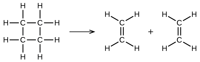 In this figure, structural formulas are used to illustrate a chemical reaction. On the left, a structural formula for cyclobutane is shown. This structure is composed of 4 C atoms connected with single bonds in a square shape. Each C atom is bonded to two other C atoms in the structure, leaving two bonds for H atoms pointing outward above, below, left, and right. An arrow points right to two identical ethane molecules with a plus symbol between them. Each of these molecules contains two C atoms connected with a double bond oriented vertically between them. The C atom at the top of these molecules has H atoms bonded above to the right and left. Similarly, the lower C atom has two H atoms bonded below to the right and left.