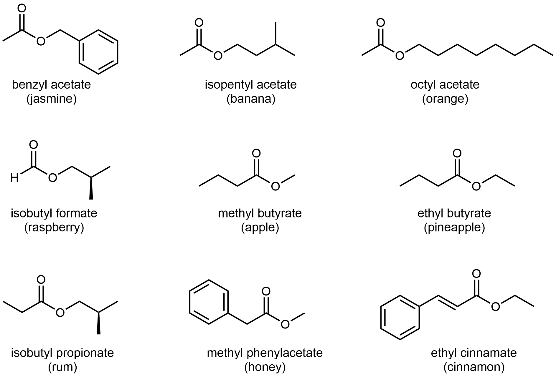 """There are nine structures represented in this figure. The first is labeled """"benzyl acetate (jasmine)"""". It has a methyl group bonded to ester C and a benzyl group bonded to ester O. The second is labeled """"isopentyl acetate (banana)"""". It has a methyl group bonded to ester C and an isopentyl (3-methylbutyl) group bonded to ester O. The third is labeled """"octyl acetate (orange)"""". It has a methyl group bonded to ester C and a octyl group bonded to ester O. The fourth is labeled """"isobutyl formate (raspberry)"""". It has an H atom bonded to ester C and an isobutyl group bonded to ester O. The fifth is labeled """"methyl butyrate (apple)"""". It has a propyl group bonded to ester C and a methyl group bonded to ester O. The sixth is labeled """"ethyl butyrate (pineapple)"""". It has a propyl group bonded to ester C and a ethyl group bonded to ester O. The seventh is labeled """"isobutyl propionate (rum)"""". It has an ethyl group bonded to ester C and a isobutyl group bonded to ester O. The eighth is labeled """"methyl phenylacetate (honey)"""". It has a benzyl group bonded to ester C and a methyl group bonded to ester O. The ninth is labeled """"ethyl cinnamate (cinnamon)"""". It has a styrene group bonded to ester C and an ethyl group bonded to ester O."""