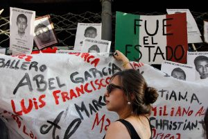protest in uruguay demanding return of disappeared students in Mexico