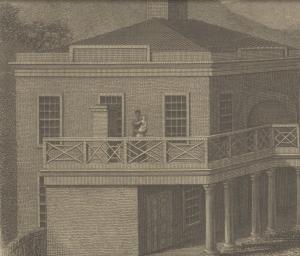 Engraving of enslaved female holding baby on balcony of University building.