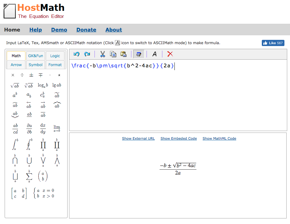 display with equation symbols on the left, an equation preview window at the bottom, and a string of LaTex characters at the top